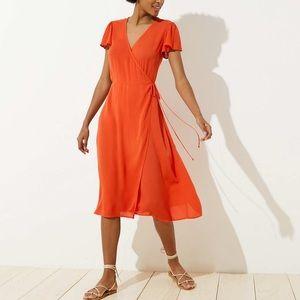 Ann Taylor loft beach orange featherweight dress